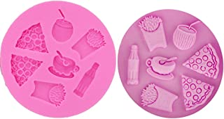 1PC Pizza French Fries Coke Coffee Silicone Mold for DIY Gum Paste Soap Mould Fondant Mold Ice Cube Jelly Shots Candy Cupcake Cake Topper Decor Handmade Ice Cream Pudding Desserts Chocolate