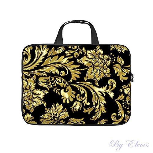 Laptop Sleeve 10 inch with Handle Water Repellent Neoprene Bag Black and Metallic Gold Floral Damasks Protective Case Cover Compatible with MacBook Pro/Asus/Dell/HP/Sony/Acer
