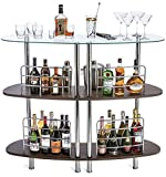 Tempered glass shelves provide ample space for wine and wine accessories Front guard rails prevent accidental spills Four front legs and two back legs give added stability Three wide levels to store mixers, bottles, accessories, cups and more! Measur...