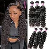 Deep Wave Bundles Human Hair Wet and Wavy Curly Weave Human Hair Bundles 8A Unprocessed Brazilian Human Virgin Hair Weave 3 Bundles Can be Dyed and Bleached Natural Wave Hair Extensions ( 24 26 28)