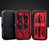 Aubcee Nail Clipper Set, Manicure, Pedicure Kit, 7 in 1 Black Stainless Steel Professional Grooming Kit with Black Leather Travel Case