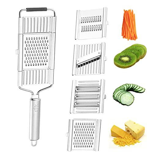 panthem Rallador de verduras, rallador de pepinos, 4 en 1, multifunción, rallador de cocina, ajustable, de acero inoxidable, para verduras, patatas, cebollas, tomates, frutas