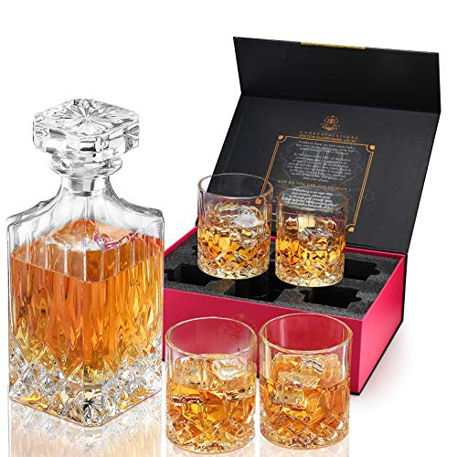 Billionth Barrel Crystal Glass Whiskey Decanter Set for Men – 950ml with 4 x Heavy Duty Glasses – Handcrafted Unique Design – Airtight Stopper, Lead-free – for Scotch, Whisky, Bourbon, Liquor
