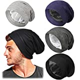4 Pieces Hair Bonnet for Men Adjustable Silk Satin Sleep Cap (Dark Colors)