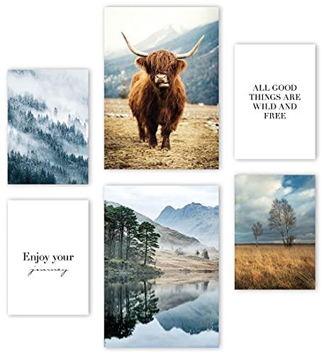 Mia Félice Premium Poster Set »The Highlands « 2x A3   4x A4 - Moderne Bilder für das Wohnzimmer und Schlafzimmer - Wandbilder ohne Rahmen - Flur Deko - Dekoration