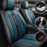 Qiaodi Funda Asiento Coche para BMW 3 Series GT 318i 320i 325i 330i 335i 2 Asientos Delanteros Impermeables Cuero Protector para Asientos (Negro Azul)