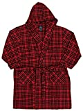 Stafford Mens Big & Tall Red Plaid Cotton Hooded Robe Housecoat Bath Robe 2X/3X