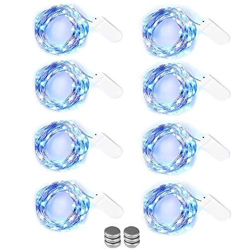 NEXVIN LED Lichterkette mit Batterie, 8er Stück Kupferdraht Lichterkette Blau 3M 30 LED, Micro LED Lichterkette für Hochzeit, Party Deko (Kommen mit 6 Ersatzbatterien)