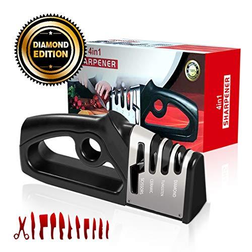 knife sharpener kitchen knife sharpener 4 in 1 sharpener   Can sharpen scissors   10 second fast sharpening   Finger protection   ergonomic design for knives and scissors