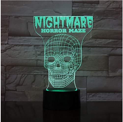 Scary Maze Game 3D-Lampe für Kleinkinder am Bett Dekorative LED-Nachtlichtlampe Mehrfarbige visuelle für Weihnachten Dekorative Schwarz keine Fernbedienung