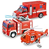 JOYIN 3 in 1 Friction Powered City Fire Rescue Vehicle Truck Car Set Including Helicopter,...