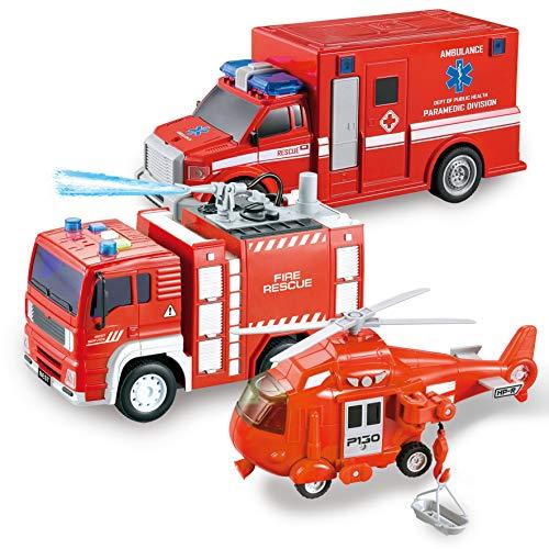 JOYIN 3 in 1 Set Auto per Camion con Veicolo di Soccorso Antincendio Cittadino Alimentato a Frizione,Elicottero, Ambulanza e Autopompa Antincendio, con Luci e Suoni