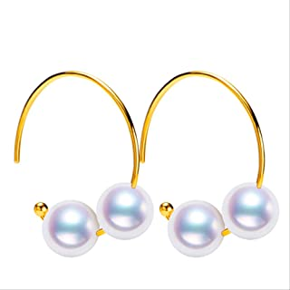WTPUNGB 18k Gold Solid 6-7 مم White Japanese Akoya Pearl Drop Earrings Party Fine Jewelry