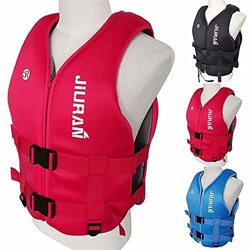 LLDMZ Chaleco salvavidas, chaleco salvavidas flotante para niños y adultos, flotante, chaleco salvavidas flotador, chaleco salvavidas para pesca, surf, buceo, rafting, kayak, rojo, XS