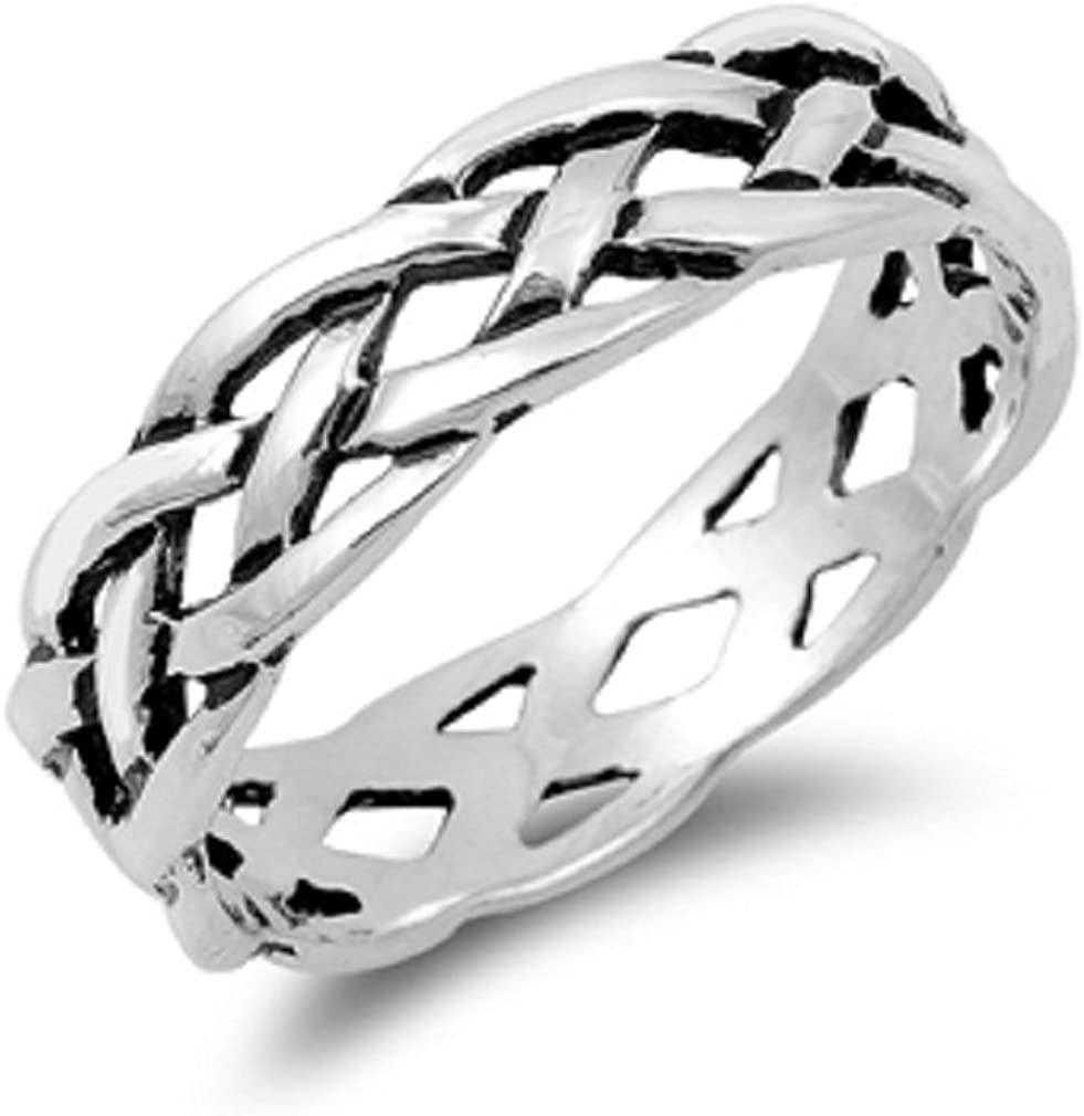 CloseoutWarehouse Sterling Silver 100% quality warranty Ring Braided Eternity Choice