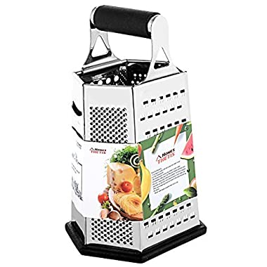 6-Sided Box Cheese Grater - 9 Inch Stainless Steel Graters with Rubber Handle, Non Slip Rubber Bottom for Vegetable, Cheese, Ginger by THETIS Homes