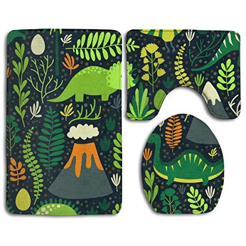 ZharkLI - Set di 3 tappetini da Bagno con Motivo Floreale con Dinosauri, Colore: Verde