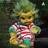 DBFISHINGREEL Reborn Baby Grinch Toy, Mueco De Dibujos Animados Realista, Mueco De Simulacin De Navidad, Decoracin del Hogar, Grinch para Nios Pequeos, Nios Y Nias (A)
