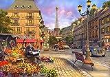 DIY Vorgedruckt Leinwand Malen Nach Zahlen Kits Für Erwachsene Eiffelturm-Romantische Straßen-Ansicht Der Alte Mann, Der Die Zeitung Liest No Frame