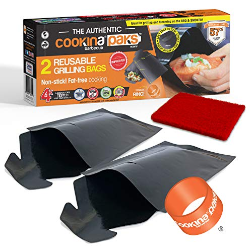 COOKINA PAKS BBQ Grilling Bag (Pack of 2) - 100% Non-Stick Pouch Steam Cook in Minutes, Easy to Clean and Safe for Smokers, as well as Gas, Charcoal and Electric Barbecues, Flat, Black