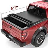 oEdRo Quad Fold Tonneau Cover Soft Four Fold Truck Bed Covers Compatible with 2009-2014 Ford F-150 F150 6.6 ft Bed, Styleside (Excl. Raptor Series)