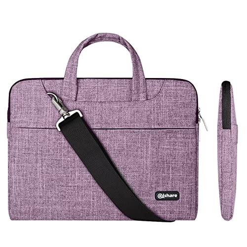 Qishare 15,6 16 Zoll Laptoptasche, multifunktionale Laptoptasche, Laptoptasche für Damen, Verstellbarer Schultergurt & unterdrückter Handgriff, tragbarer Dokumentenordner (15,6-16-Zoll Lila Linien)