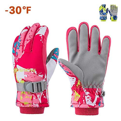 Gdtime Ski Handschuhe, wasserdichte Und Winddichte Wärmste Schneehandschuhe rutschfeste Wärmeschutzhandschuhe Mit Weichem Innenfutter Für Kinder, S-Größe/Rosa (Rosa, S)
