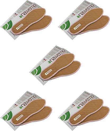 Nawemo 5er Pack/5 Paar Zimtsohlen, geruchsbindende Zimteinlegesohlen gegen Schweißfüße, Fußgeruch, Fußpilz und Nagelpilz, dünne Einlegesohlen braun, Größe 44 EU