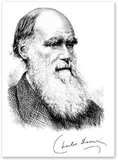 Charles Darwin Portrait Signature Evolution Science Vinyl Sticker - Car Phone Helmet - SELECT SIZE