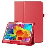 subtel Funda Compatible con Samsung Galaxy Tab 4 10.1 (SM-T530 / SM-T531 / SM-T533 / SM-T535) Cuero Artificial Funda Flip Cover Case Rojo