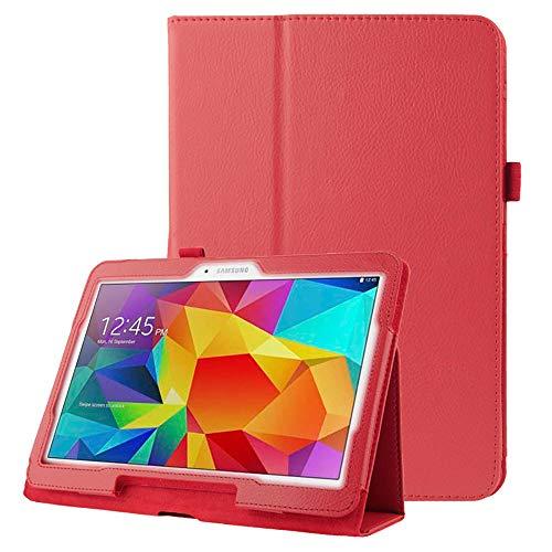subtel® Tasche kompatibel mit Samsung Galaxy Tab 4 10.1 (SM-T530 / SM-T531 / SM-T533 / SM-T535) Kunstleder Schutzhülle Tasche Flip Cover Hülle Etui rot