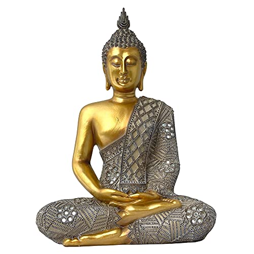 Sitting Buddha Statue for Home - 13' High - Feng Shui Decoration for Peace and Harmony - Meditation Pose - Indoor Spiritual Zen Home Decor Ornament or Gift