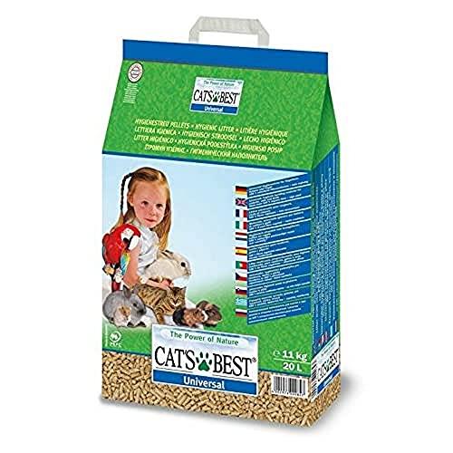 Cat's Best Arena para Gatos Universal 20L (11 kg). Arena para Pájaros, Conejos Biodegradable Sin Polvo. Lecho para Conejos Ecológico de Fibra Vegetal. 🔥