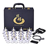 Cupping Set Professional Chinese Acupoint Cupping Therapy Sets Suction Hijama Cupping Set with Vacuum Magnetic Pump Cellulite Cupping Massage Kit 22-Cups PU Leather Case