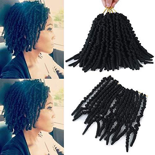 GX Beauty 6 Packs Pre-twisted Spring Twist Crochet Hair 8 Inch Short Curly Bomb Twist Braids Pretwisted Passion Twists Bob Twist Braiding Hair Extensions for Women(1B#)