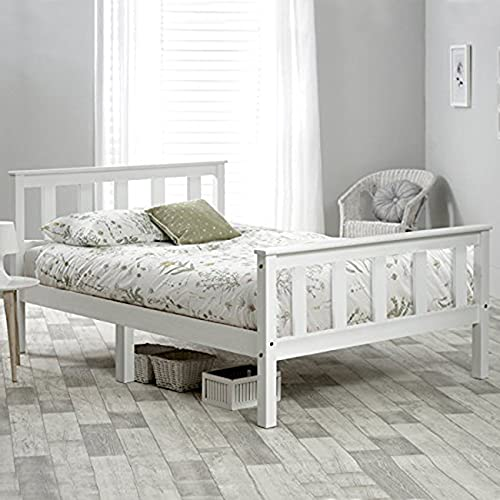 Solid Wooden Double Bed Frame,4FT6 White Finished Solid Pine Wood Platform Bedstead, Perfect for Adults Kids Teenagers190*135cm-default
