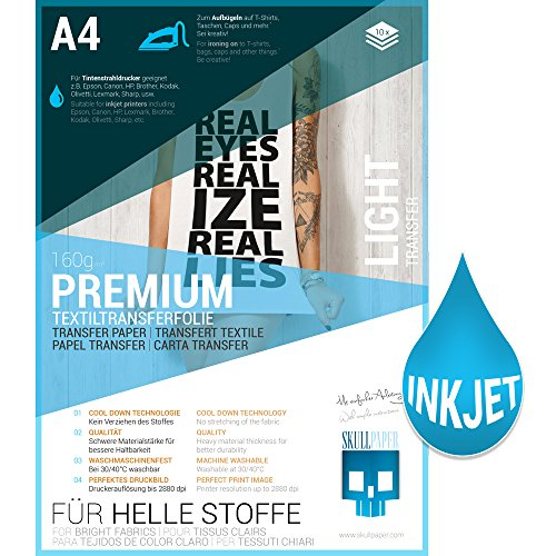SKULLPAPER Premium A4 T-Shirt Tessile Transfer Film per tessuti di colore chiaro - incl. 200 + modelli di motivo gratis - per stampante inkjet (10 fogli)
