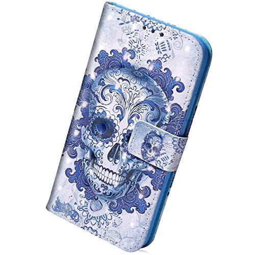 Herbests Kompatibel mit Samsung Galaxy A10S Hülle Leder Handyhülle Bunt Glänzend Glitzer Muster Klapphülle Brieftasche Schutzhülle Flip Case Tasche Ständer Kartenfächer,Schädel
