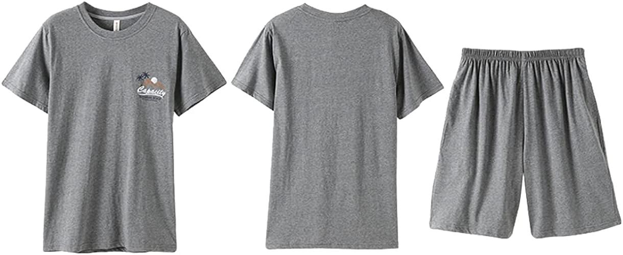 ft FENTENG Men's Pajamas Set Cotton Short-Sleeved Sleepwear Set Shorts Pants Thin Large Size Suit Summer for Home