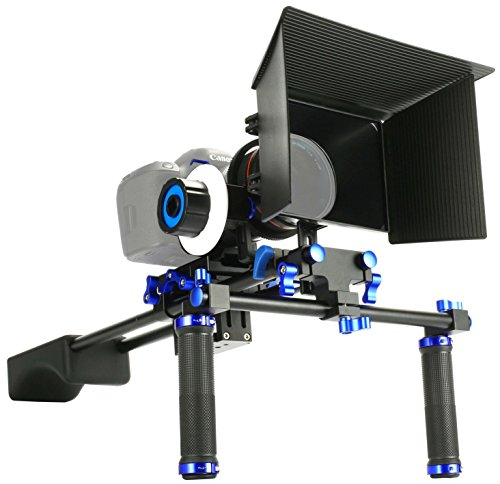 SunSmart Pro Rig DSLR Kit Movie Shoulder Mount Rig con Follow Focus y caja mate para Todos cámaras DSLR, cámaras,