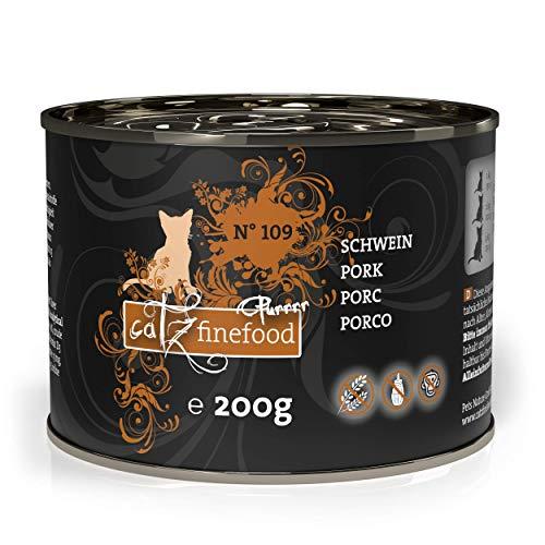 catz finefood Purrrr Schwein Monoprotein Katzenfutter nass N° 109, für ernährungssensible Katzen, 70% Fleischanteil, 6 x 200g Dose