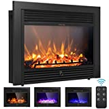 Giantex 28.5' Electric Fireplace Insert Recessed Mounted with 3 Color Flames Adjustable, 750/1500W Wall Fireplace Electric with Remote Control, Standing Fireplace Heater