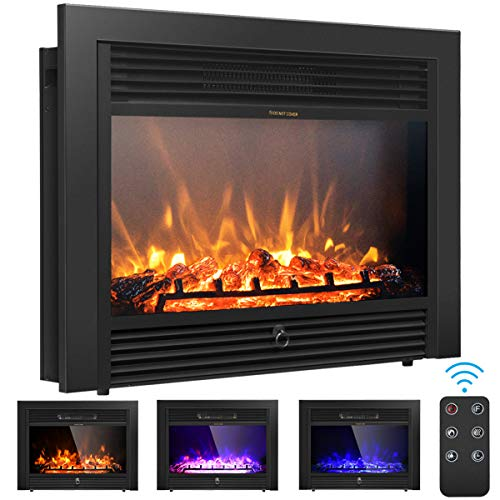 "Giantex 28.5"" Electric Fireplace Insert Recessed Mounted with 3 Color Flames Adjustable, 750/1500W Wall Fireplace Electric with Remote Control, Standing Fireplace Heater"
