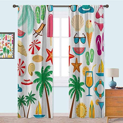 YUAZHOQI Cortinas opacas de verano iconos árboles bikini gafas paraguas estrellas de mar sandía abstracta vacaciones cortina opaca para sala de estar 132 x 160 cm, multicolor