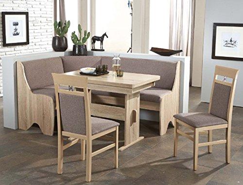 expendio Eckbankgruppe Runa 2 Eiche Sonoma grau-braun 2X Stuhl Tisch Eckbank Bank Essgruppe Truhenbank Truheneckbank Esszimmer