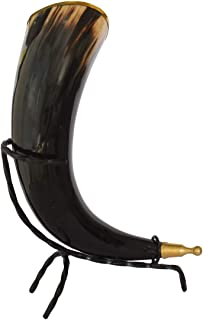 RHYTON 100% Natural Hand Crafted Drinking Horn | Horn with Brass Ring & Iron Stand | Made For Beer Lovers Serves Hot Cold ...