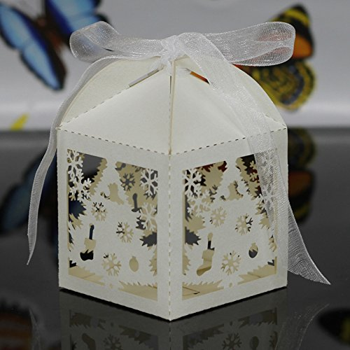 Krismile 50PCS Merry Christmas Laser Cut Snowflake Favor Box ,Wedding Candy Box In Pearlescent Paper ,Party Show Candy Box (Ivory)