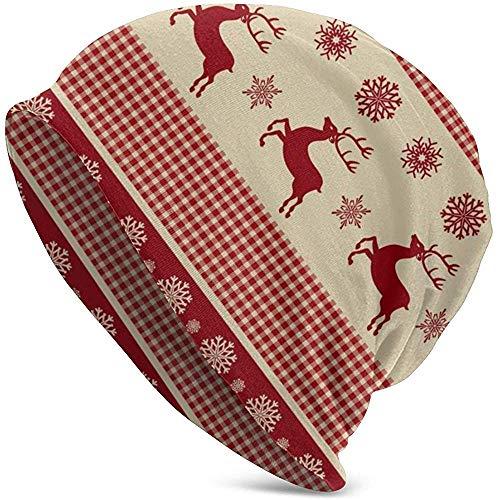 GodYo Reindeers en snowflakes retro beanie muts lichte baggy slouchy elastische turban voor mannen en vrouwen, confinement cap hoofdwraps