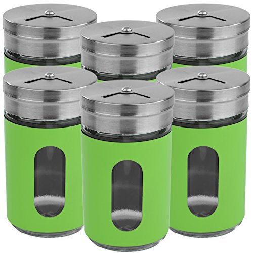 My-goodbuy24 6 x Gewürzstreuer Set Grün Salzstreuer Pfefferstreuer aus Glas & Edelstahl mit Dreh-Deckel und einem Stichtfenster Vorratsglas Gewürzdose Dose Streudose