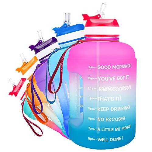 QuiFit 2.2L Trinkflasche mit Aufgedruckter: Trink Ermutigung & Flip Stroh Große Drinkflasche Fitness Gym Unterwegs Joggen Auslaufsicher Wasserflasche Sportflasche Bpa Frei (Pink/Blue, 2.2L)